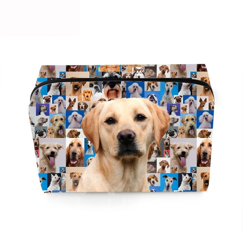 3D Portable Labrador Printed PV Cosmetic Bag