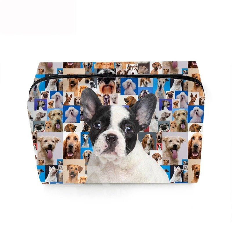 3D Portable White and Black French Bulldog Printed PV Cosmetic Bag