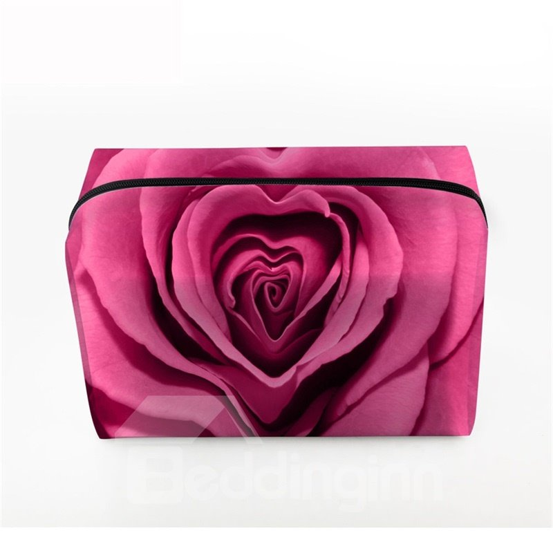 3D Portable Red Heart Shape Rose Printed PV Cosmetic Bag