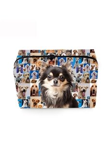3D Portable Black Chihuahua Printed PV Cosmetic Bag