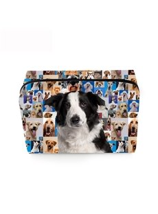3D Portable Black and White Mastiff Printed PV Cosmetic Bag