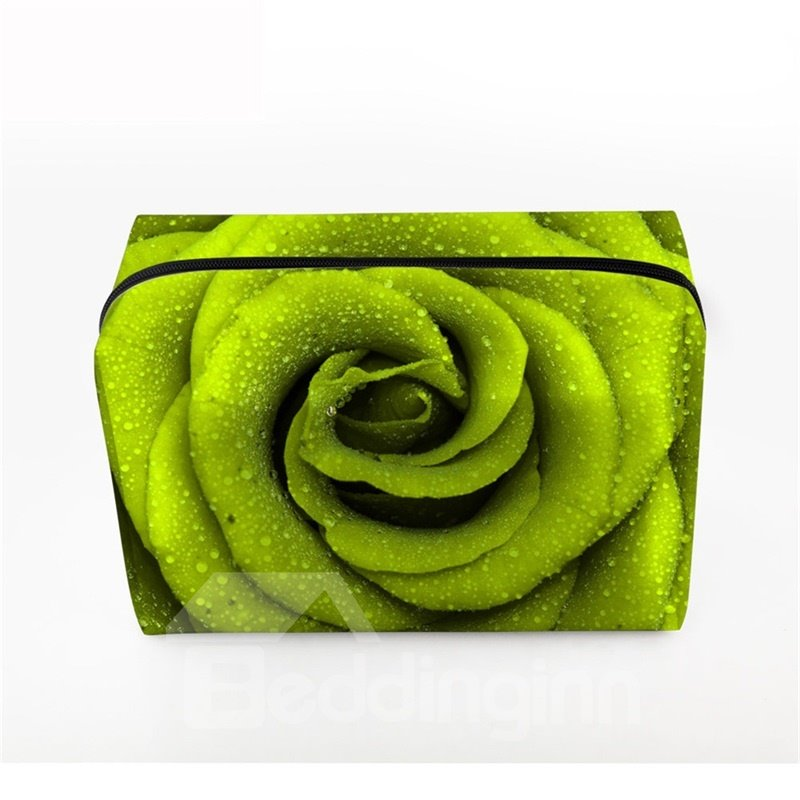 3D Portable Rose Printed PV Green Cosmetic Bag