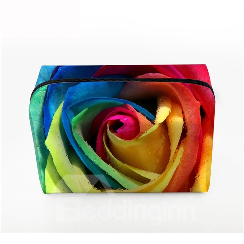 3D Portable Colorful Big Rose Printed PV Cosmetic Bag
