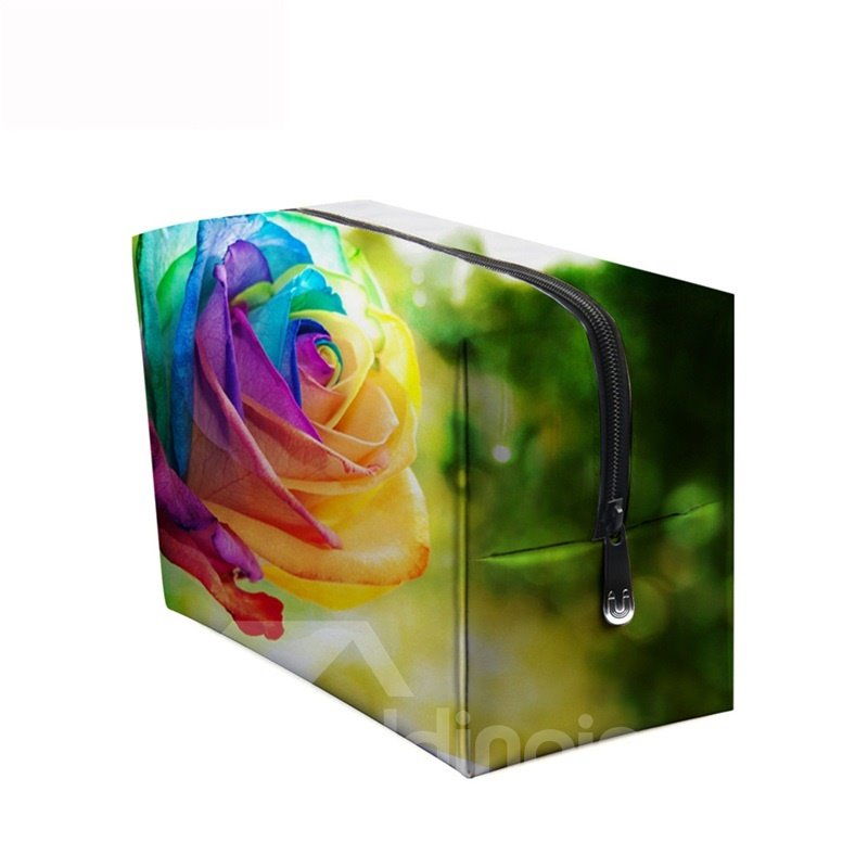 3D Portable Colorful Rose Printed PV Cosmetic Bag