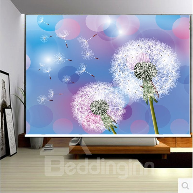 3D Printed Blooming Dandelions Romantic Style Polyester Dust-Proof and Blackout Curtain Roller Shade