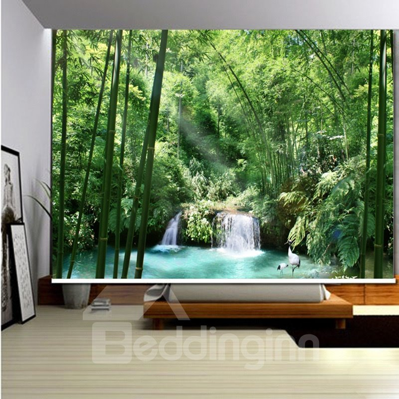 3D Printed Flowing Water and Green Bamboos with Cranes Curtains Roller Shades