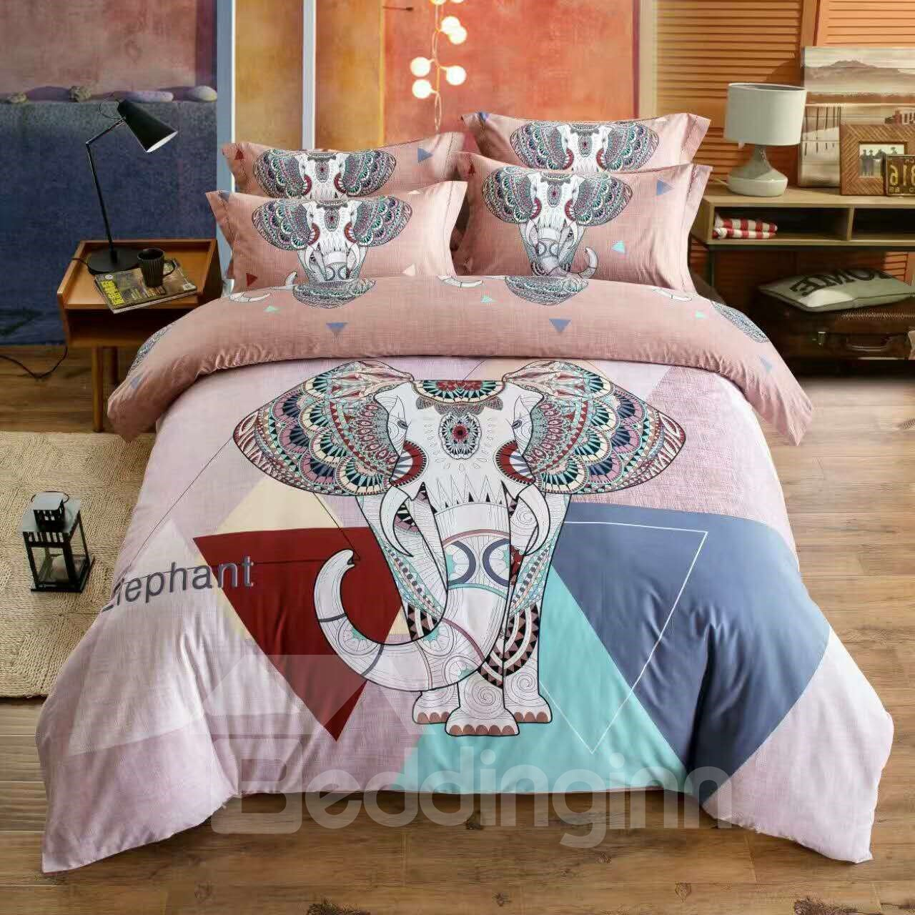 Classical Elephant Pattern Ethnic Style Pink Cotton 4-Piece Bedding Sets/Duvet Cover