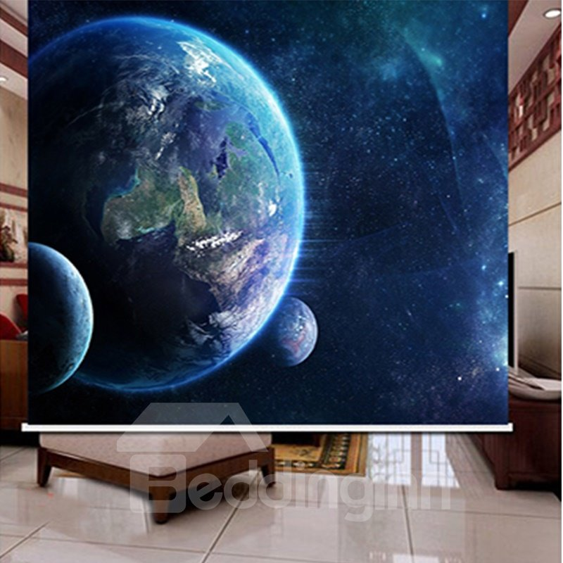 3D Stars in Space Printed Decoration and Blackout Polyester Curtain Roller Shade