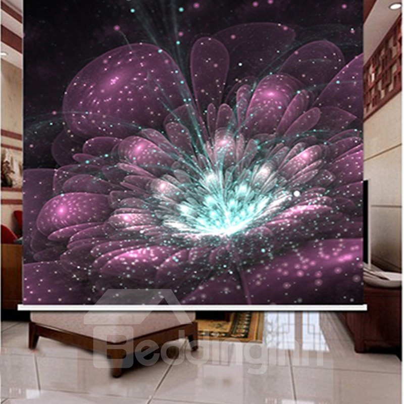 3D Printed Romantic Fireworks Decoration and Blackout Polyester Curtain Roller Shade