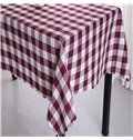 Burgundy and White Plaids Elegant Style Chemical Fiber Soft 1 Piece Tablecloth