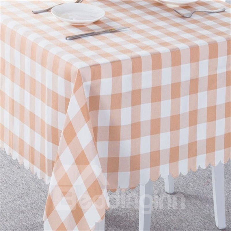 Coffee and White Plaids Elegant Style Chemical Fiber Soft 1 Piece Tablecloth