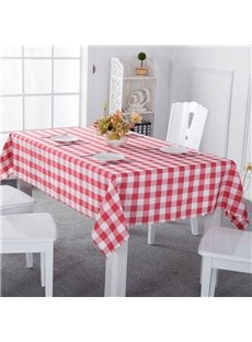 Red and White Plaids Elegant Style Chemical Fiber Soft 1 Piece Tablecloth