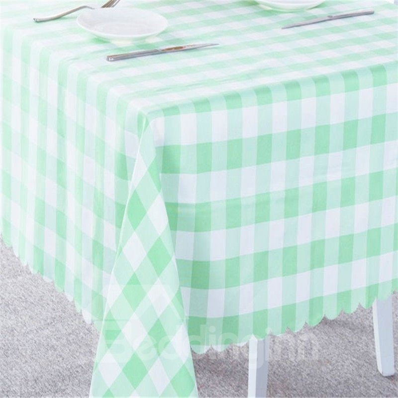 Green and White Plaids Elegant Style Chemical Fiber Soft 1 Piece Tablecloth