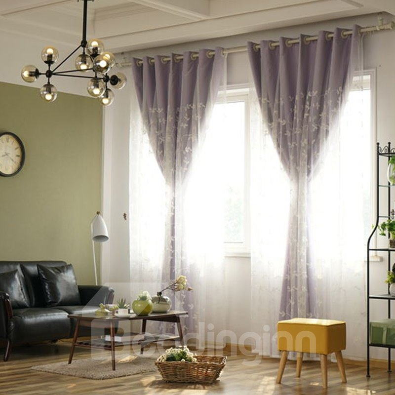 Decoration and Blackout Embroidery Small Beautiful Flowers Princess Style Polyester Curtain Sets