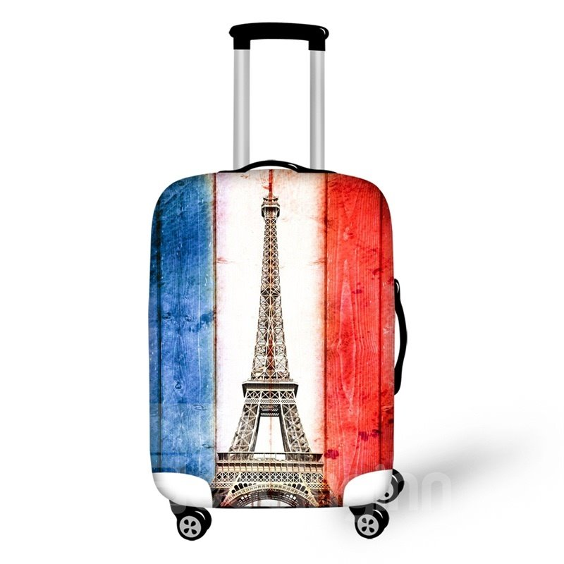 French Flag Eiffel Tower Nation 3D Pattern Fashion Luggage Cover