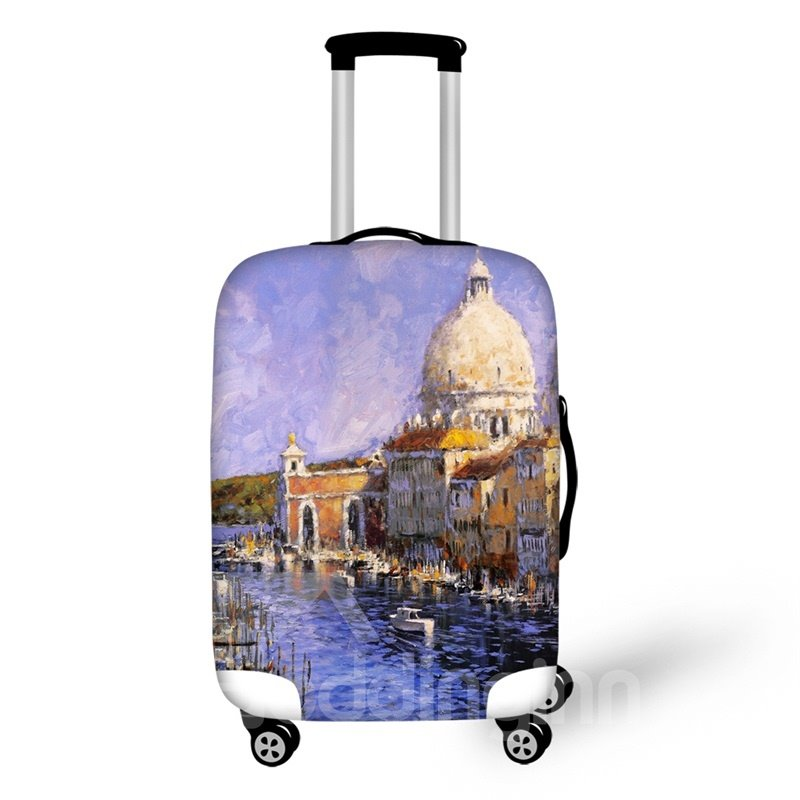 Travel Luggage Cover Suitcase Oil Painting 3D Pattern Calm Village Life Protector 19 20 21