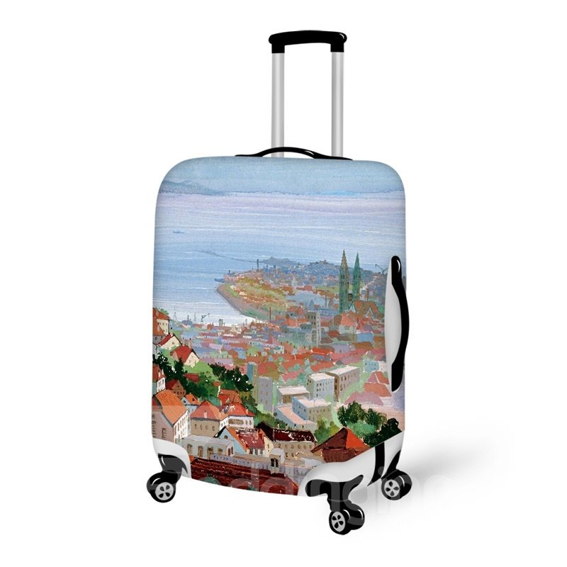Santorini Style 3D Printing Architecture Spandex Travel Dust proof Luggage Cover 20/22/24/26/28 Inch