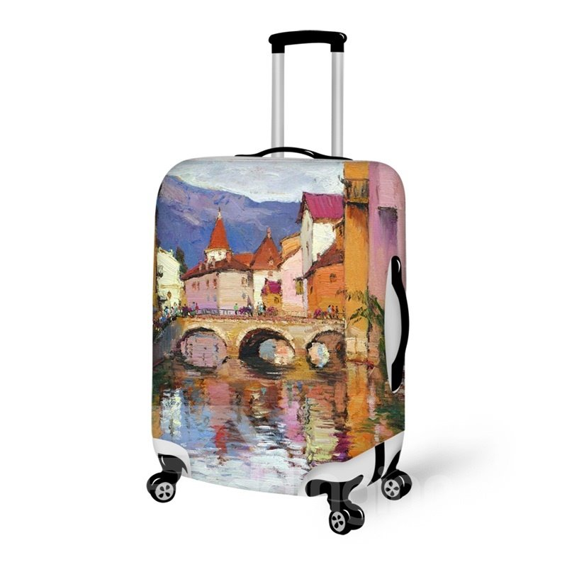 3D Village Life Pattern Waterproof Oil Painting Suitcase Protector 19 20 21