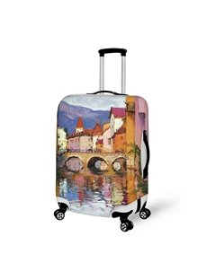 3D Village Life Pattern Waterproof Oil Painting Travel Luggage Cover Suitcase Protector 19 20 21
