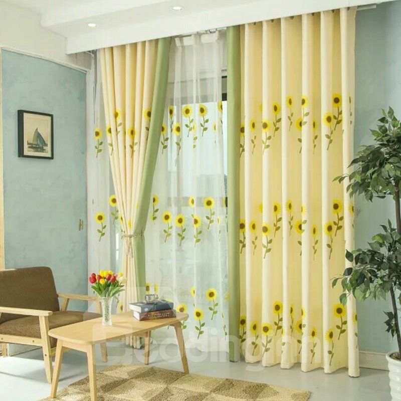 Decoration Polyester Embroidery Bright Sunflowers Sweet Style Sheer Lining Curtain Set