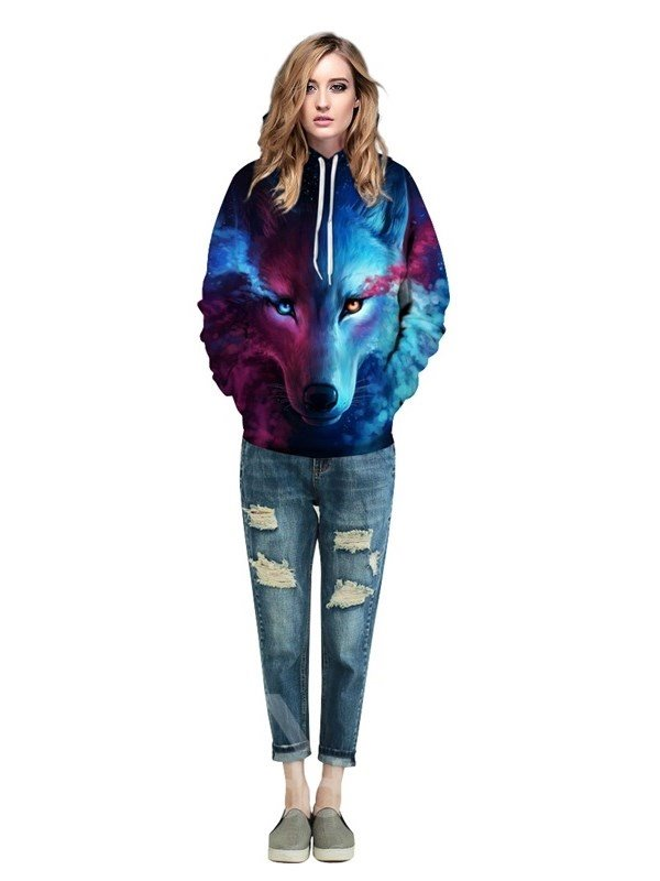Long Sleeve Wolf Face Color Block Blue Red 3D Pattern Hoodies