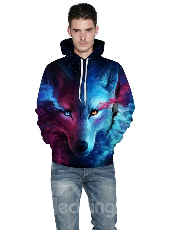 fcd4433d6c46 Long Sleeve Wolf Face Color Block Blue Red 3D Pattern Hoodies ...