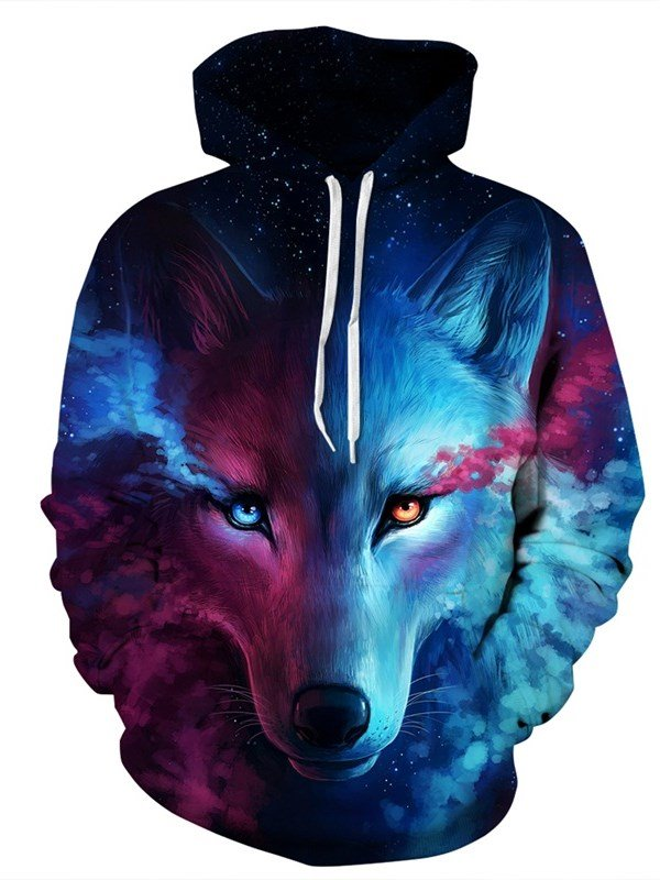625ab33ddfc2 44 Long Sleeve Wolf Face Color Block Blue Red 3D Pattern Hoodies