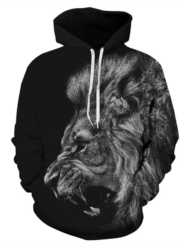 Long Sleeve Hoodie 3D Pattern Grey Lion Face Roar Black