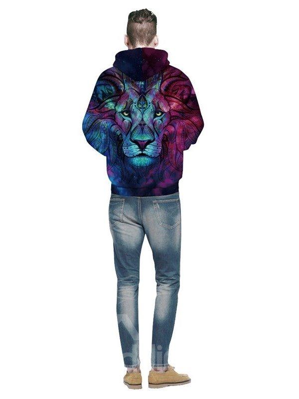 Long Sleeve Hoodie 3D Pattern Bohemia Blue Lion King Face