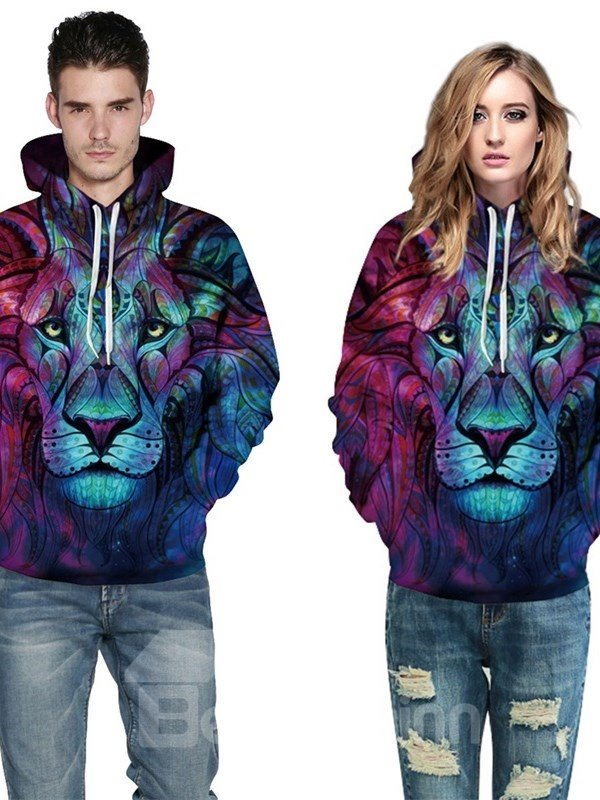 Long Sleeve Hoodie 3D Pattern Bohemia Blue Lion King Face