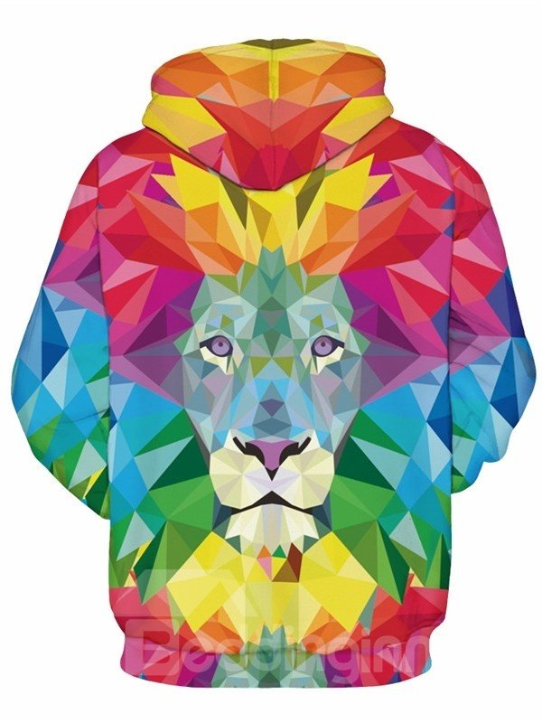 Soft Long Sleeve Colorful Lion Face Pattern 3D Painted Hoodie