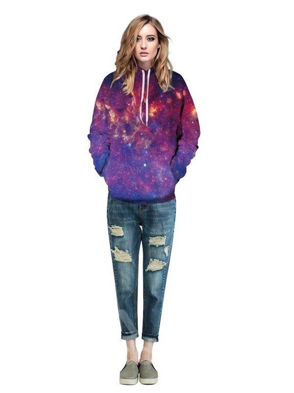 Colorful Firework Galaxy Sky Long Sleeve Pattern 3D Painted Hoodie