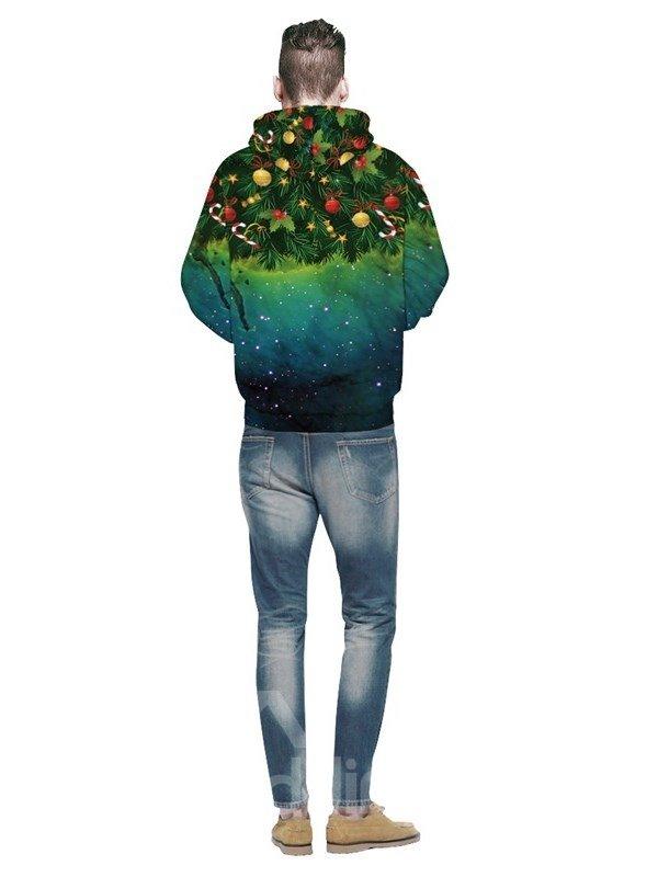 Christmas Tree Galaxy Star Long Sleeve Green Pattern 3D Painted Hoodie