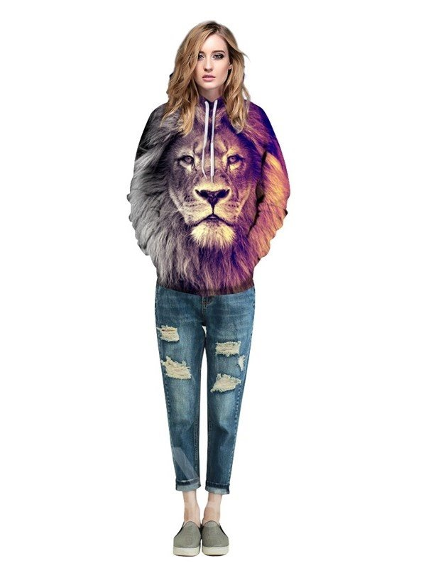 Long Sleeve Lion Face Gradient Color Pattern 3D Painted Hoodie