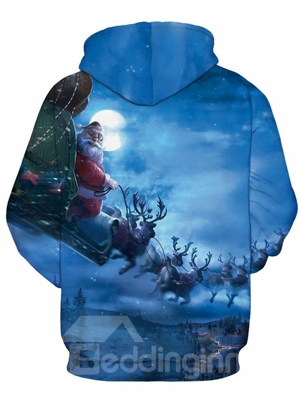 Santa Claus with Deer in Winter Night 3D Pattern Couple Long Sleeve Hoodie