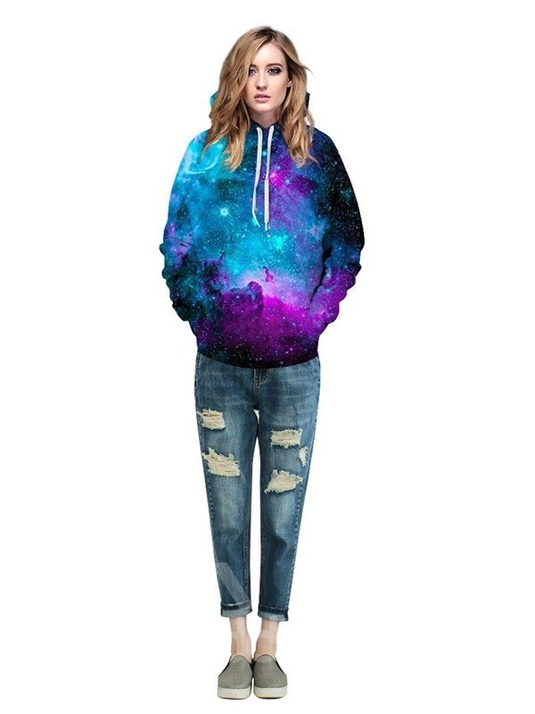 Soft Long Sleeve Dream Galaxy Colorful Pattern 3D Painted Hoodie