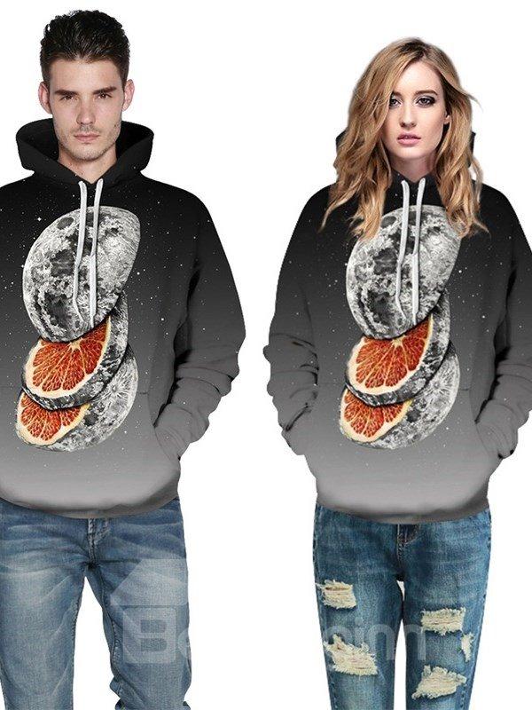 Gradient Color Black Orange Fruit 3D Pattern Couple Long Sleeve Spandex Hoodie