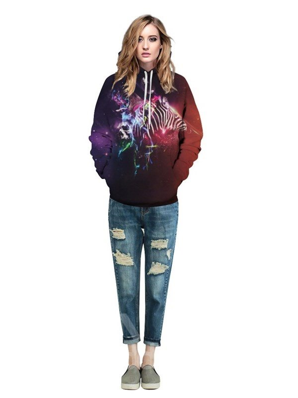 3D Pattern Soft Personalized Zebra Dream Galaxy Universal Sky Color Couple Long Sleeve Hoodie
