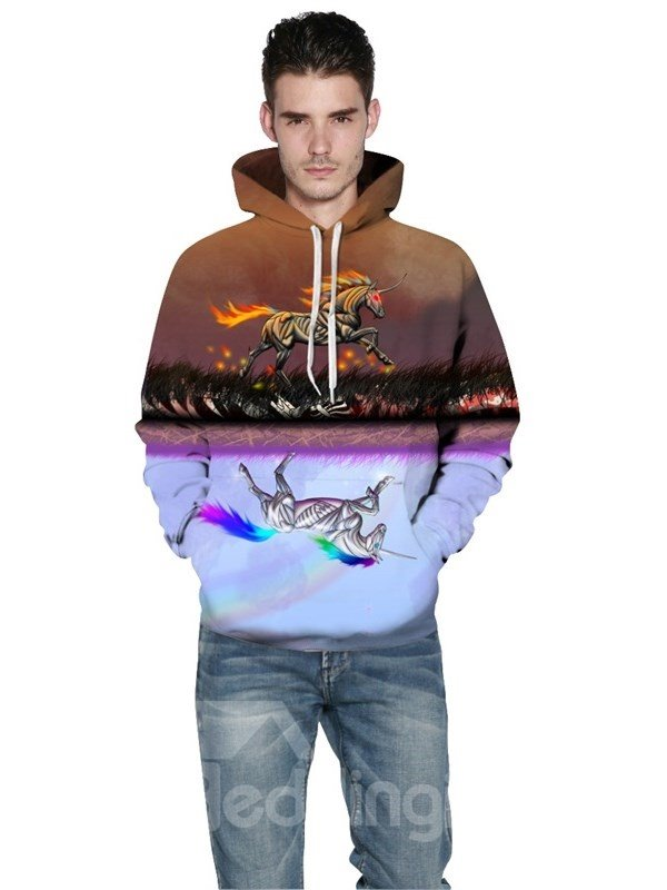 Reflection Unicorn Running Spandex 3D Pattern Soft Couple Long Sleeve Hoodie