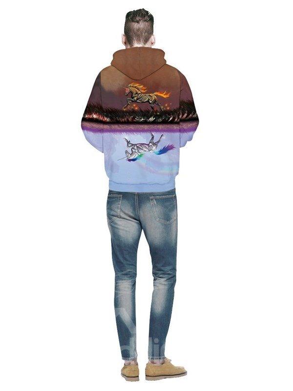 Reflection Unicorn Running Spandex 3D Pattern Soft Couple Long Sleeve Hoodie