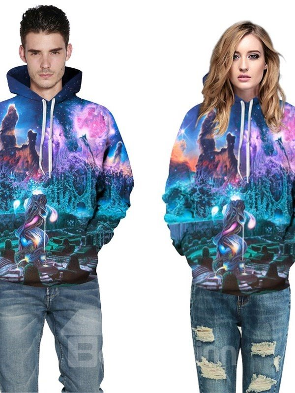 Myth Dream Wonderland 3D Pattern Soft Personalized Couple Long Sleeve Hoodie