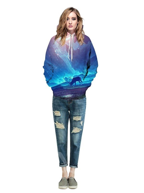 Anime Style Antelope Blue Couple Long Sleeve Spandex 3D Pattern Soft Hoodie