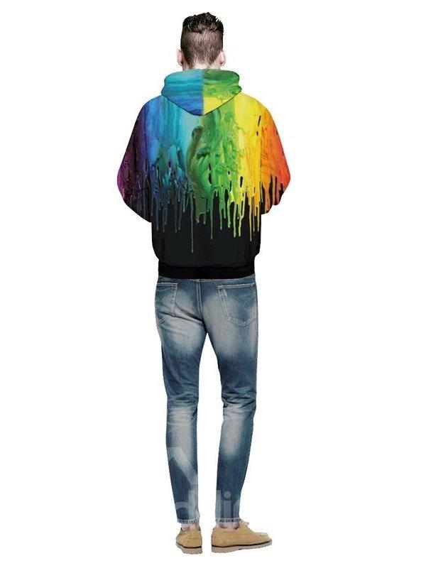 Long Sleeve Paint Color Falling Pattern 3D Painted Hoodie