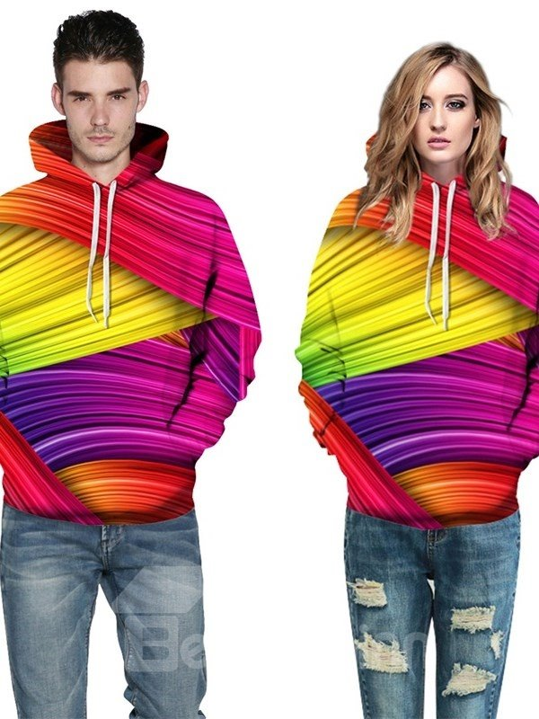 Line Light Color Red Yellow Couple Long Sleeve Spandex 3D Pattern Hoodie