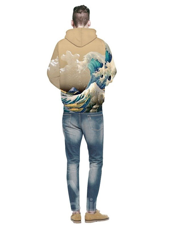 Spandex 3D Pattern Soft Personalized Mountain Couple Sea Waves Yellow Hoodie