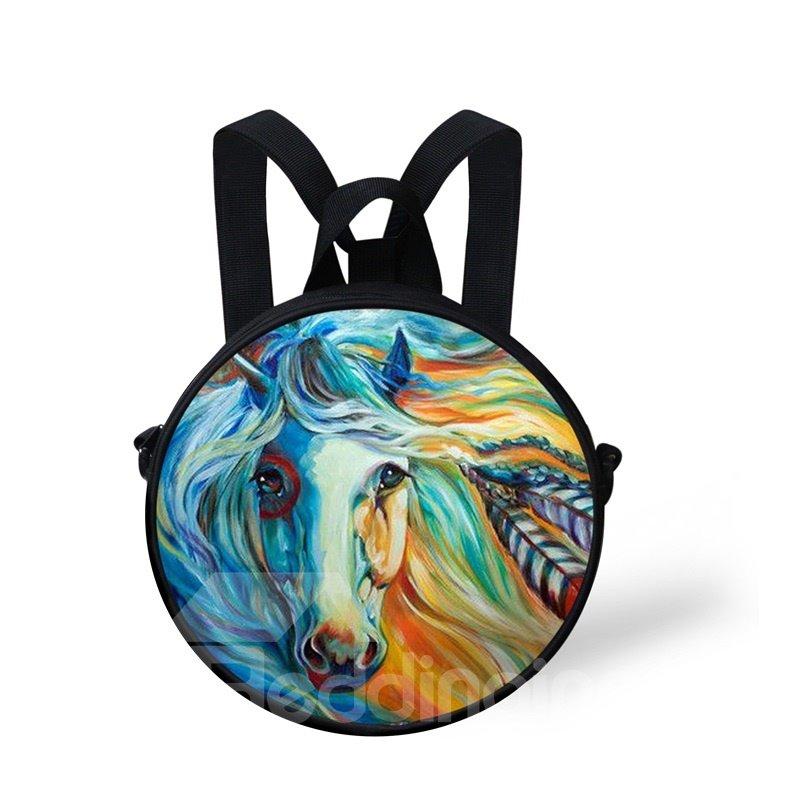 Round 3D Blue Horse Pattern School Bag Shoulders Backpack