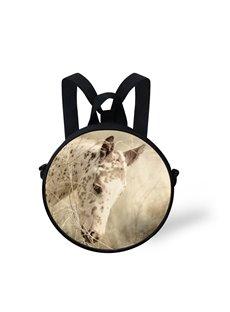 Round 3D White Horse Pattern School Bag Shoulders Backpack