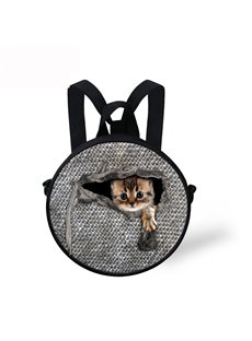 Little Cat in Cloth Pattern School Bag Shoulders Backpack