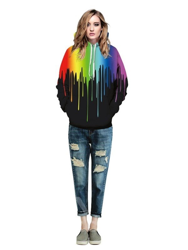 Colorful Rock Fashion Rainbow 3D Pattern Style Couple Long Sleeve Hoodie