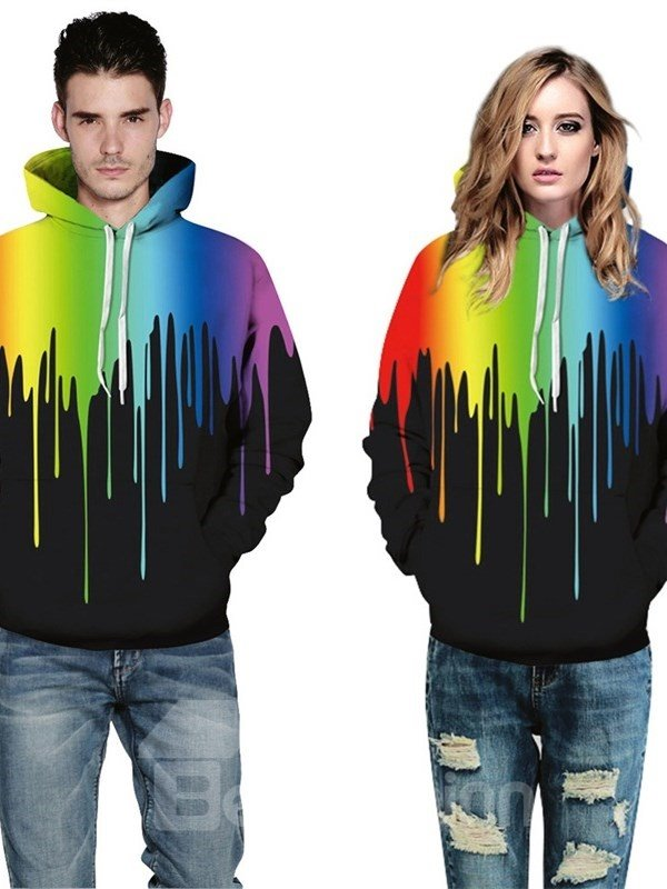 Long Sleeve Colorful Rock Fashion Rainbow Pattern 3D Painted Hoodie